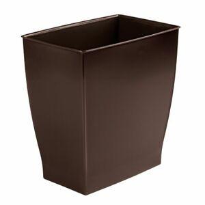 mDesign Plastic Rectangular Trash Can Wastebasket - Dark Brown