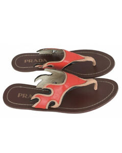 Prada Women's Flame Red / Beige Leather Thong Sandals UK 3 | EUR 36 | US 5