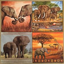 set of 4 DESIGNS PAPER NAPKINS COLLECTION for DECOUPAGE crafts Animals Elephants