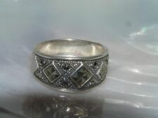 Estate Slightly Tapered 925 Marked Sterling Silver Three Tipped Squares Marcasit