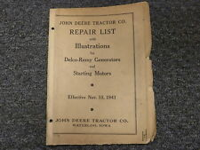 John Deere Delco Remy Generator & Starting Motor Parts Catalog Manual 11-15-1941
