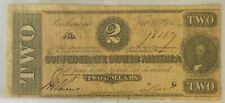 1864 $2 Two Dollar Confederate Note Very Good Condition