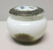 White Milk Glass Powder or Cream Jar w/ gold trim ANTIQUE