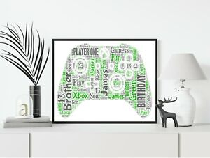 Xbox Controller Game Console Personalised A4 Word Art Birthday Gift Home Print