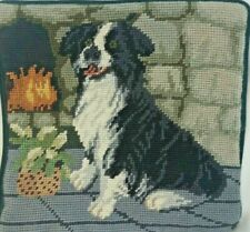 "Border Collie Dog Needlepoint of 9.5"" Square Velveteen Back w/ Zipper"