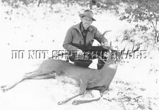 ANTIQUE DEER HUNTING REPRINT 8X10 PHOTOGRAPH FRED BEAR WITH BIG WHITETAIL DEER