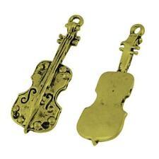 Violin Charm/Pendant Tibetan Antique Bronze 33mm BULK 3 Packs x 8 Charms