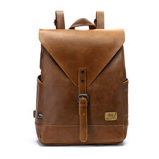 Men Campus Travel PU Leather Shoulders Bag Backpack School Bag
