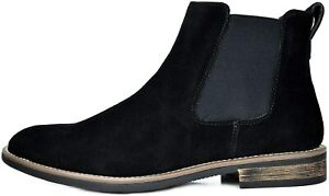 Mens Slip On Chelsea Ankle Boots Suede Leather Chukka Dress Desert Boots Black 9