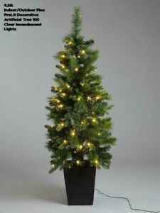 4.5ft Indoor/Outdoor Pine PreLit Decorative Artificial Tree 100 Clear Incandesce