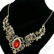 Women's Lady Red Crystal Hollow Out Flower Pattern Choker Bib Necklace