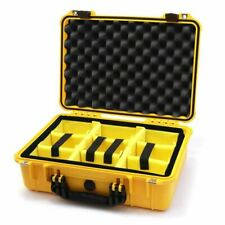 Yellow and Black Pelican 1500 case with yellow dividers.