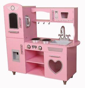 Kiddi Style Retro Chefs Heart Pink XLarge Childrens Kids Play Toy Wooden Kitchen