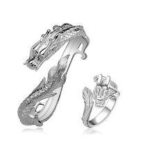 Cool 925Sterling Silver White Dragon Strong Men's Cuff Bracelet Ring Set S775-B
