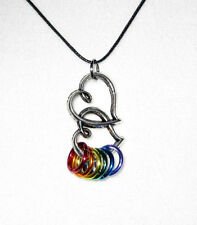 LBGT Antiqued Silver Double Heart Pride Necklace Black Cord Rainbow Gay Jewelry