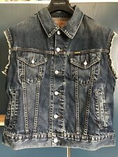 DIESEL Distressed Faded Blue Denim Sleeveless Jacket NOS!!!
