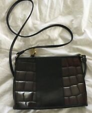 BRAHMIN Mini Black Leather Crossbody Purse Bag with Croc Brown Detailing-NICE