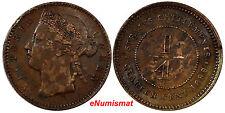 STRAITS SETTLEMENTS Bronze Victoria 1899  1/4  Cent VF+ Condition KM# 14