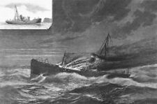 SHIPS. Solway burning at sea-fire, Deck, antique print, 1881