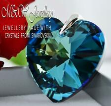 925 SILVER LARGE PENDANT CRYSTALS FROM SWAROVSKI® 28MM HEART - Bermuda Blue AB