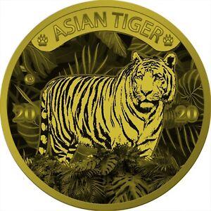10 Cedis Ghana 2020 - 1 Kilo White Tiger 2020 vergoldet