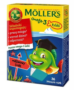Moller's Omega-3 Jelly Fish Raspberry Flavour Brain Immune System, FREE P&P
