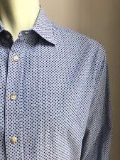 Charles Tyrwhitt Shirt, Polka Dots on Chambray, Large, Classic Fit, EUC