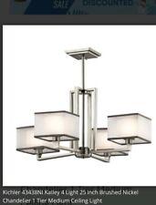 New Kichler 43438NI Chandelier Gray 4 Lighting Fixture Modern Square Elegant