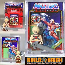 MOTU HEMAN MINIFIGURE + Display Case Masters Of The Universe Lego TypeCustom313