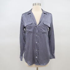 Equipment Signature Blouse Shirt Top Womens 100% Silk XS Blue Geometric Print