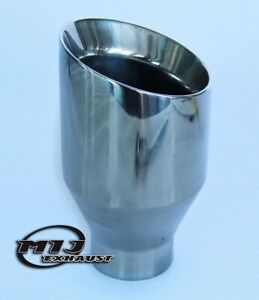 """4"""" Round Sports Tail Pipe Double Skinned Quality Tip Slash Cut Trim Stainless"""