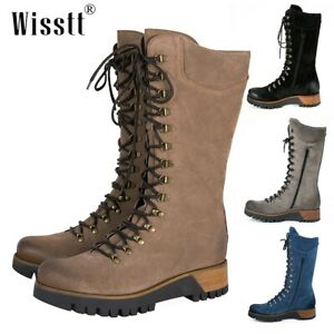 Women's Knee High Mid Heel Chunky Combat Boots Lace Up Side Zipper Punk Shoes