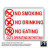 2x Taxi Warning Sticker-No Smoking,Eating,Drinking-CCTV In Operation,Warning,RED
