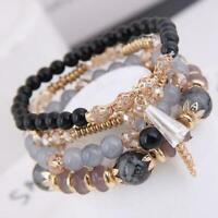 4Pcs /Set Boho Multilayer Natural Stone Crystal Bangle Beaded Jewelry Brace A7U7