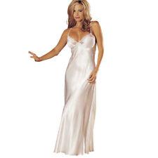 Womens Ladies Lace V-neck Satin Nightdress Full Slips Night Gown Dress Nightwear White
