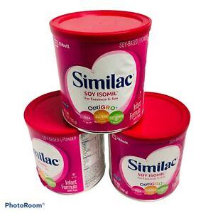 SIMILAC (3) 12.4 oz. cans Soy-Based Isomil OptiGRO Infant Formula 12/2021 NEW