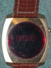 Vintage Red LED Men's Wrist Watch - Stainless Steel Back/USA Made!