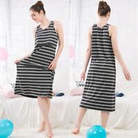 Maxi Dress Nursing Breastfeeding Striped Sleeveless Calf Cotton Maternity M/L