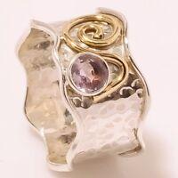Amethyst 925 Sterling Silver Band Ring Meditation Statement Jewelry gu28