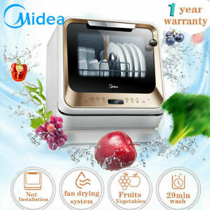 MIDEA Benchtop Mini Dishwasher touch control 1-24 hours delay LED display