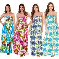 Ladies Summer Beach Strapless Bandeau Maxi Sun Dress Size 8-22 NEW