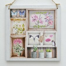 Vintage hanging plaque/picture Botanical Herbarium, Flowers, Butterfly