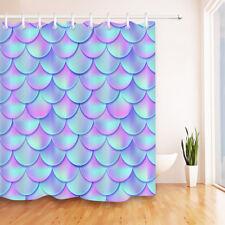 Rainbow Mermaid Tail Shower Curtain Set Waterproof Polyester Fabric Bathroom