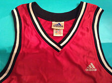 Adidas Performance Teamwear Red Black Silky Basketball Vest Jersey 1997 Vintage