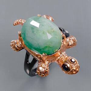 Emerald Ring Silver 925 Sterling Jewelry Fine ART Size 8 /R141546