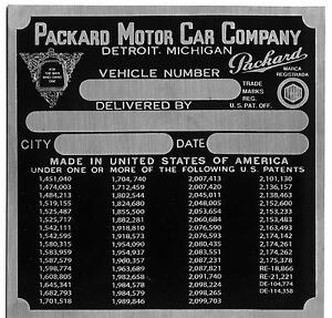 Packard Cowl Plate 1941 VIN ID Identification Can make all plates Special orders