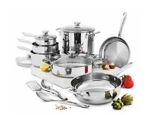 Wolfgang Puck 15-Pc Stainless Steel Cookware Set Factory Sealed Kitchen Sets