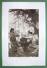 NUDE Greek Girls Listen to Song of Nubian Slave Lyre - Victorian Era Print