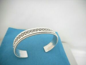 Tahe, Navajo, Sterling Silver Braided Twisted Wire Cuff Bracelet