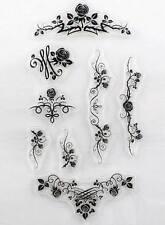 Set di 8 Timbri Trasparente Rose - Fiori - Ghirigori - Scrapbooking